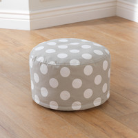 KidKraft Round Pouf - Gray with White Polka Dots - 18691