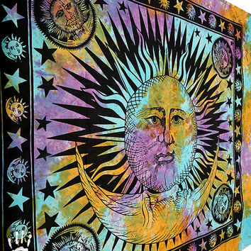 psychedelic sun tapestry - hippie sun wall hanging - tie dye bohemian home decor