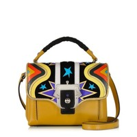 Paula Cademartori Designer Handbags Dun Dun Intarsio Big Bang Ocher Leather and Suede Satchel