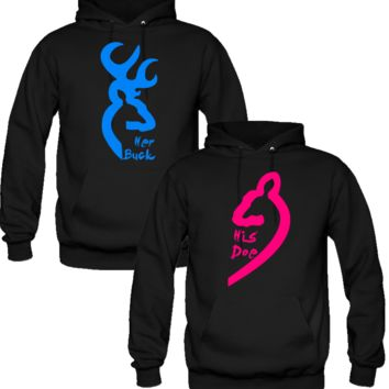 browning love her buck his doe   COUPLE LOVE HOODIES