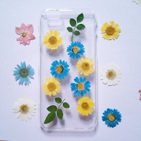 iphone 6 plus case, iPhone 6 Case Clear, iPhone 5s Case, Clear iPhone 5c Case, iphone 4s case,daisy iphone 6s case,pressed flower phone case