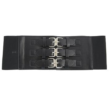 Gothic Cyber Steampunk Triple buckle Corset wide elastic belt