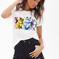 FOREVER 21 Kitty Graphic Tee White/Multi