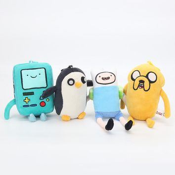 12-15cm Adventure Time Plush Toy Animal Stuffed Finn Bmo Jack Penguin Plush Doll Pp Cotton Pendant Kids Toy for Party Supplies