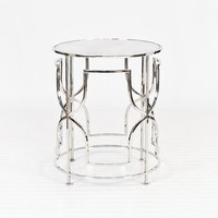 Worlds Away Lenora Nickel Side Table