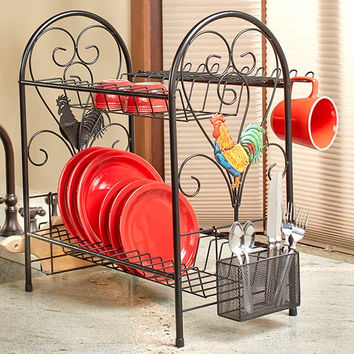 Dish Rack 2 Tiered Space Saver Metal Rooster Apple Decor