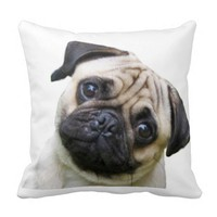 """Pug"" design throw pillows"