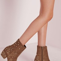 Missguided - Pointed Toe Star Detail Ankle Boots Tan