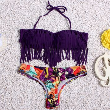 The New Bohemian Tassel Floral Print Two Piece Bikini Set Swimwear BK073