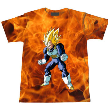 Super Saiyan Vegeta Dragon Ball Z Tie Dye Bleach Flaming T-Shirt