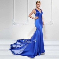 long sexy v neck mermaid sweep luxurious party dress