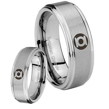 His and Hers Step Edge Green Lantern Tungsten Silver Wedding Rings Set