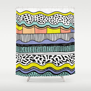 NATIVE WAVES Shower Curtain by Vasare Nar