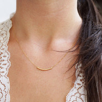 Ahead Of The Curve, 14k Gold Filled Bar Necklace