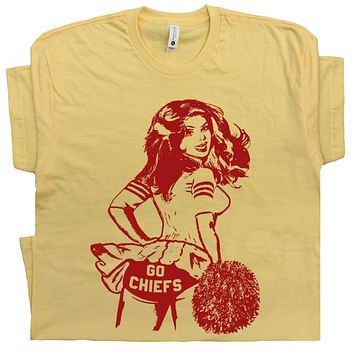 Kansas City Chiefs T Shirt Vintage Cheerleader Logo Tee