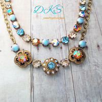 Sara's song, Swarovski Flower Necklace, Blue, Shimmer, Adjustable, Antique Gold,Statement,  DKSJewelrydesigns, FREE SHIPPING