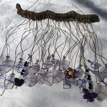 Beach Glass Sun Catcher Wind Chime-Purple Passion-Girls Room-Genuine Surf Tumbled-Lake Erie-Seaglass Art Driftwood Mobile-Seaglass Mobile