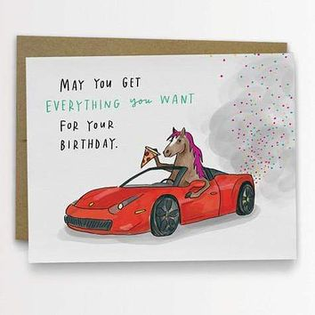 Pony Ferrari Birthday Card