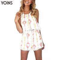 YOINS New 2017 Women Fashion Sleeveless Halter Neck Backless Crop Tops with Lace Details Elastic Wasited Shorts Sets 2 Pieces