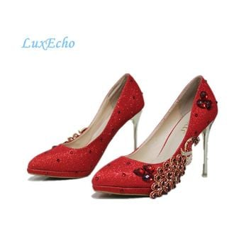 New arrival Spring and Autumn red party shoes peacock woman wedding pumps thin heel sexy night pub shoes