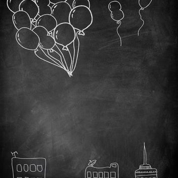 Balloons Over City in Chalk Platinum Cloth Backdrop - 6x7 - LCPCBALLOONCHALK - LAST CALL