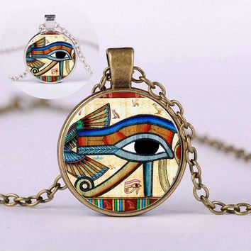 The Eye of Horus Sweater Pendant Necklace Round Glass Alloy Jewelry Gift