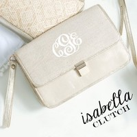 Monogrammed Sand Isabella Clutch | Clutches | Marley Lilly