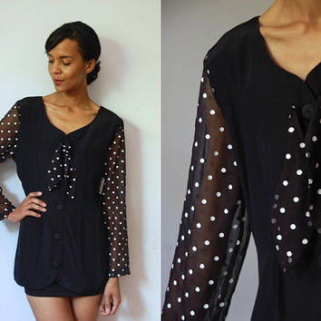 Vtg 80's Sheer Sleeves Polka Dots Bow Tie Black Button Up Shirt Original Tag