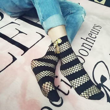 Striped Fishnet Socks With Metal Embellishments