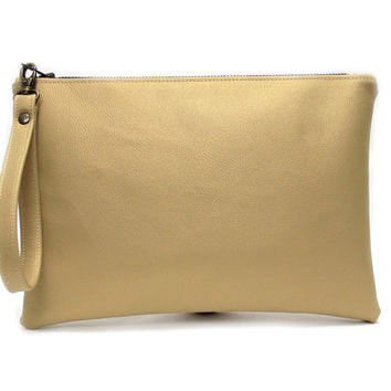 Gold Metallic Wristlet, Vegan Leather Clutch, Large Zip Pouch, Metallic Clutch Bag, Gold Clutch Purse, Evening Wrist Purse, Zip Clutch Pouch