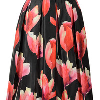 Black High Waist Midi Skirt With Red Floral Print