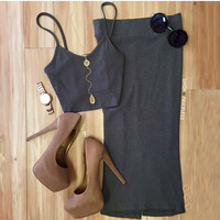 Piece By Piece Crop Top - Olive