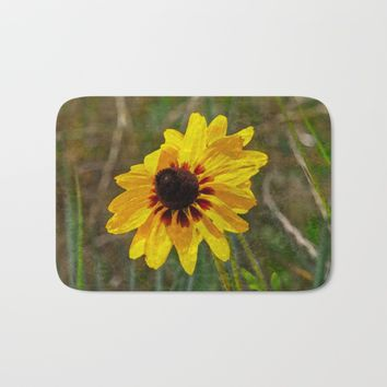 Black Eyed Susan - Photo turned Digital Paint Bath Mat by Scott Hervieux