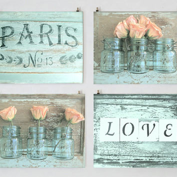 Paris Photography Set, Wall Art Gallery, Romantic Photography, Love, Shabby Chic Art, Still Life, Rose Art, Aqua Art, Rose Photography