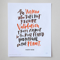 """The Woman Who Does Not Require Validation Inspirational Quote Print: 11""""x14"""" Wall Art Hand-Lettered Typography by Emily McDowell"""