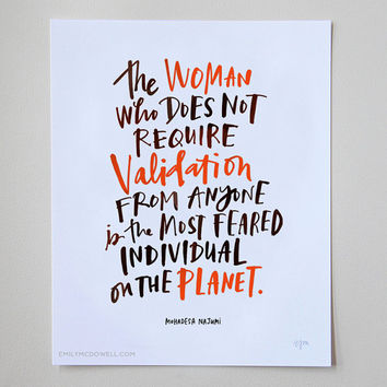 "The Woman Who Does Not Require Validation Inspirational Quote Print: 11""x14"" Wall Art Hand-Lettered Typography by Emily McDowell"