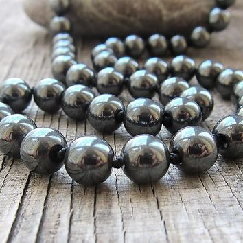 Longnecklace Knotted Necklaces Hematite Necklace Natural Stone Yoga Necklace Meditation Sport Necklaces Men's Mala Beads