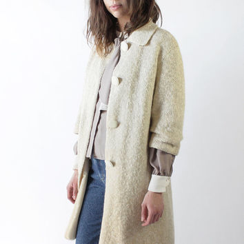 Vintage 60s Cream Wool Knit Straight Coat | M/L