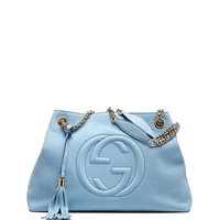 Soho Nubuck Leather Medium Chain-Strap Tote Bag, Light Blue - Gucci