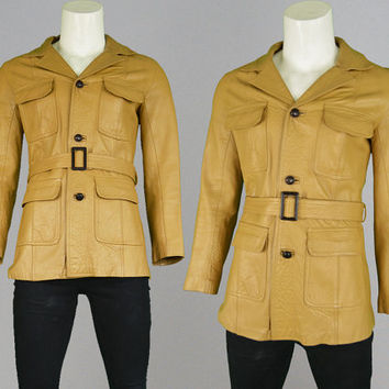 Vintage 60s 70s Leather Jacket Mustard Yellow Mens Leather Jacket Safari Jacket Mod Jacket Real Leather 1960s Jacket 1970s Fitted Jacket