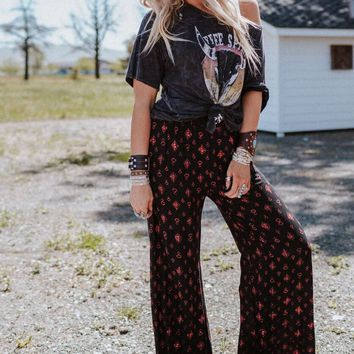 Gold Dust Printed Wide Leg Pants