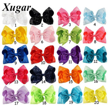 7'' Large Candy Color Hair Clip With Chic Rhinestone Hair Bow For Popular Girl Dance Party Hair Accessories