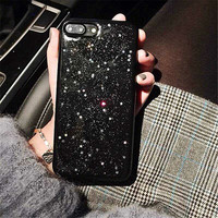 Shiny Glitter star black Phone Case for iPhone 6 6s 7 Plus soft Back Cover Phone Case Fundas -0318