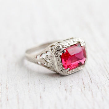 Antique 10k White Gold Pink Stone Ring - Vintage Art Deco Size 5 Filigree 1920s Fine Jewelry / Embossed Swirls
