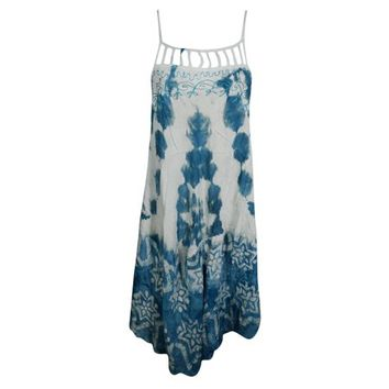 Mogul Women's Summer Sleeveless Tank Dress Tie Dye Swing Flowy Gypsy Hippie Chic Flared Beach Bikini Cover Up Sundress - Walmart.com