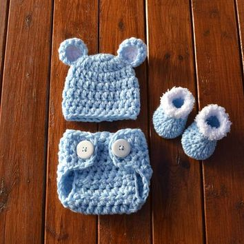 Baby Bear Outfit Light Blue Newborn Photo Prop