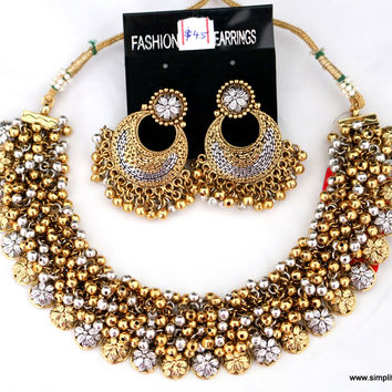Oxidised Two Tone Clustered Necklace with Chand Bali Earring