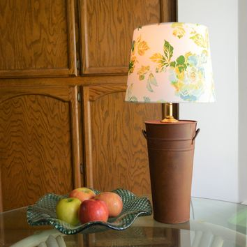 Farmhouse Decor Metal Base Table Lamp with Floral Fabric Shade