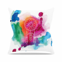 "KESS Original ""Dream In Color"" Rainbow Watercolor Outdoor Throw Pillow"