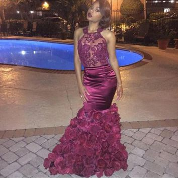Sexy Prom Dress 2017 Glamorous Halter Top Mermaid Backless See Through Sheer Burgundy Prom Dresses A